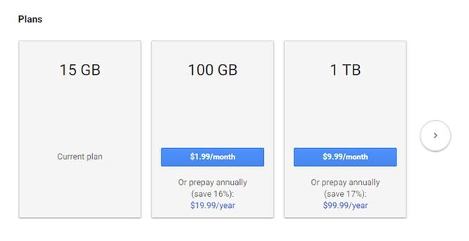 Google Drive cho phép mua dung lượng lưu trữ theo năm ảnh 1