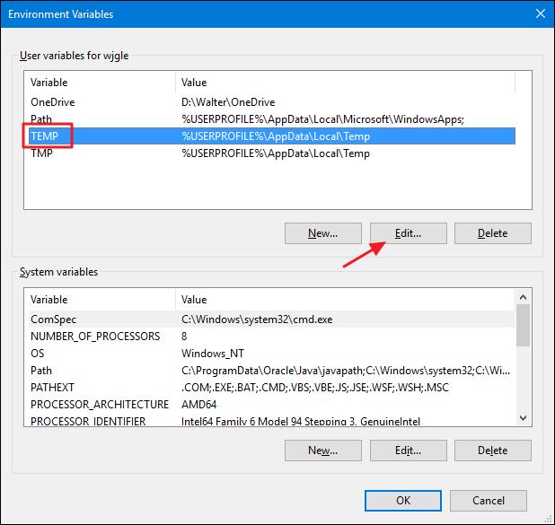 Mẹo di chuyển thư mục Temp của Windows sang ổ đĩa khác ảnh 4