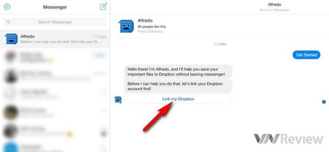 Cách tải file lên Dropbox ngay từ Facebook Messenger ảnh 2