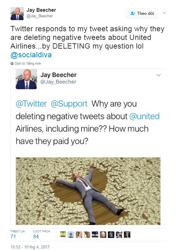 Twitter bị tố xóa nội dung chỉ trích United Airlines ảnh 1