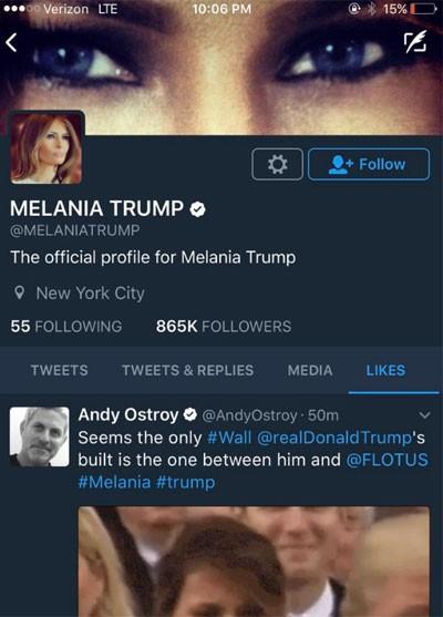 """Melania Trump vừa """"thích"""" một tweet có nội dung bà rất ghét chồng ảnh 1"""
