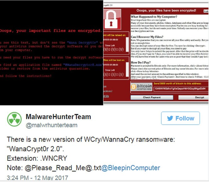 """Ransomware """"WanaCrypt0r 2.0"""" là gì và tại sao nó lại gây ra cuộc tấn công lớn đến thế? ảnh 1"""