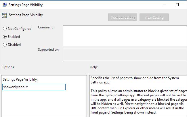 Ẩn tùy chọn thiết lập trong Settings của Windows 10 ảnh 9