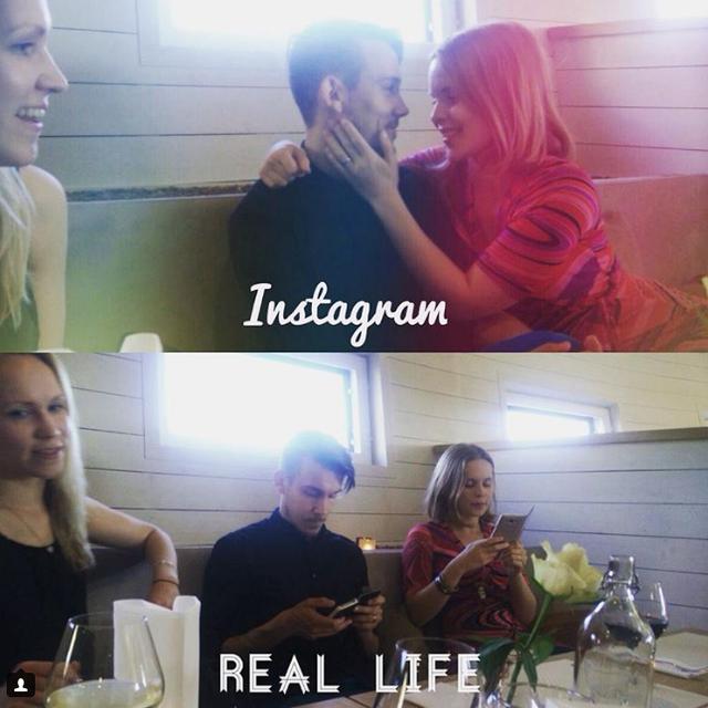 Sự khác nhau của các cặp đôi trên Instagram và ngoài đời thực.