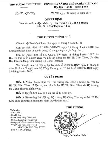 Thứ trưởng Kim Thoa chính thức bị miễn nhiệm ảnh 1