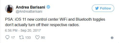 Wi-Fi và Bluetooth trên bảng Trung tâm điều khiển của iOS 11 tắt rồi vẫn chạy ngầm ảnh 1