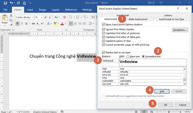 Mẹo tự động định dạng từ hoặc cụm từ trên Microsoft Word ảnh 2