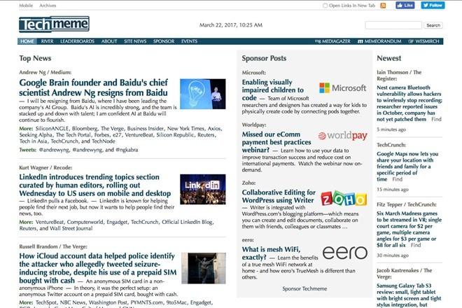 Các tựa đề tin tức trên trang Techmeme. Ảnh: BuzzFeed