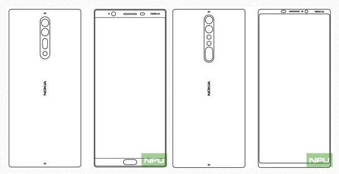 Hình ảnh được xem là bản vẽ của Nokia 8 (trái) và Nokia 9 (phải). Ảnh: NPU.