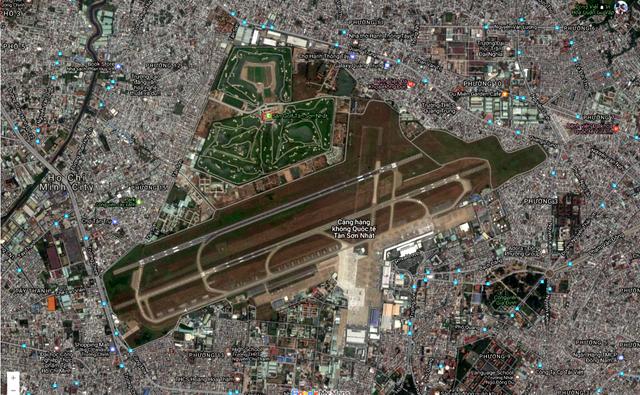Sân golf Tân Sơn Nhất hiển thị trên Google Map.