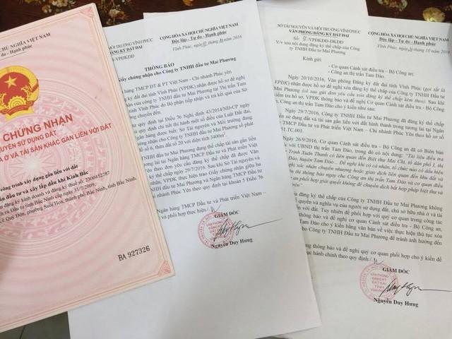 Các giấy tờ chứng minh khối tài sản đứng tên Công ty TNHH Mai Phương do ông Trịnh Xuân Giới là Chủ tịch
