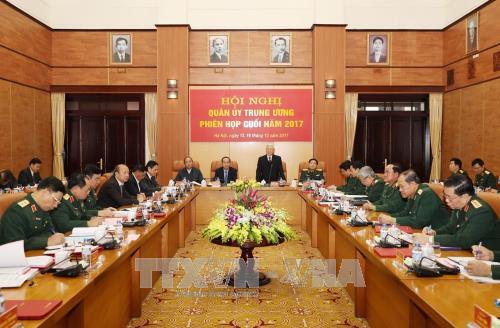 Hội nghị nhằm tổng kết công tác quân sự, quốc phòng năm 2017 và xác định phương hướng, nhiệm vụ năm 2018. Ảnh: TTXVN