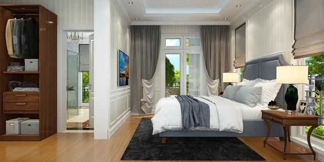 Phòng ngủ chính nằm trên tầng 2 của biệt thự.