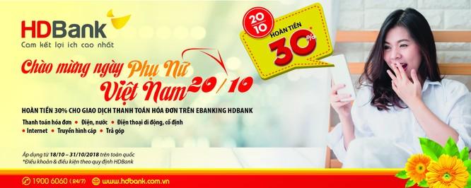 HDBANK hoàn tiền 30% dịch vụ eBanking nhân ngày 20/10 ảnh 1