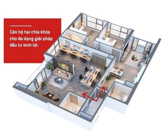 Thiết kế phối cảnh 3D mặt bằng căn hộ Dual key tại Vinhomes West Point