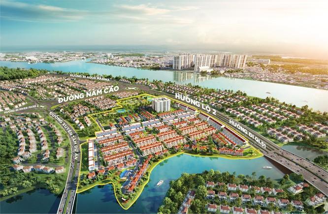 Vị trí tâm điểm kết nối khu đô thị ven sông là lợi thế giúp River Park 1 sớm trở thành phân khu giao thương sầm uất giữa miền xanh sinh thái Aqua City