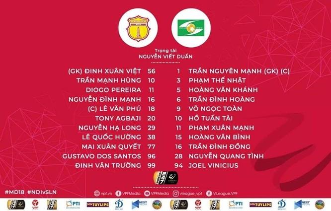 Đội hình ra sân của 2 đội Nam Định và SLNA. Ảnh VPF.