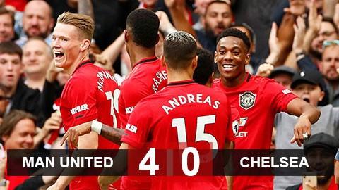 Trong lịch sử 27 năm của Premier League, Man Utd mới có lần đầu tiên vượt qua Chelsea với cách biệt 4 bàn. Ảnh AP.