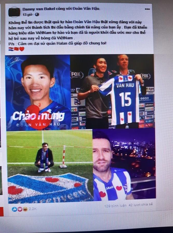 Câu chuyện nhà môi giới Danny van Bakel cũng đã mở ra hướng đi mới cho con đường xuất ngoại cầu thủ cho bóng đá Việt. FB cá nhân.