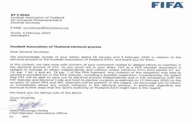 FIFA cảnh báo bóng đá Thái Lan ảnh 1