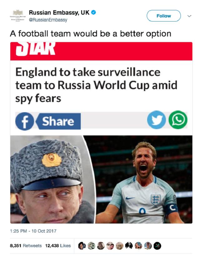 """Chết cười với những lần chính phủ Nga """"troll"""" Mỹ và Anh trên Twitter ảnh 7"""