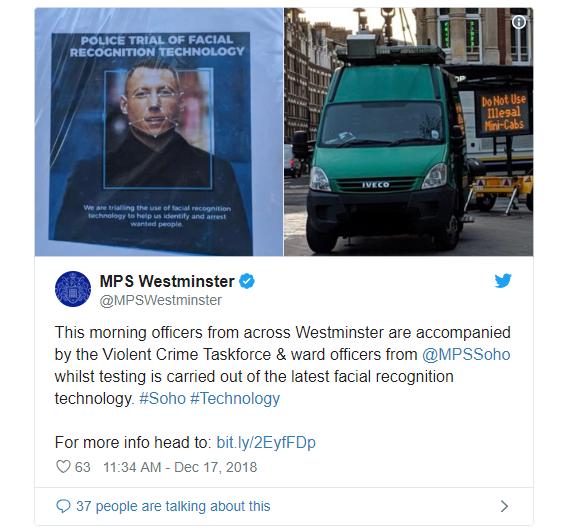 Cảnh sát London thử công nghệ nhận dạng khuôn mặt tìm người bị truy nã - ảnh 1