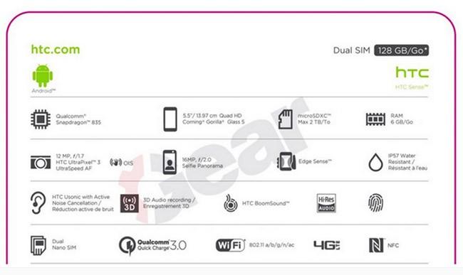 Hộp đựng sản phẩm làm lộ thông số HTC U 11 ảnh 1