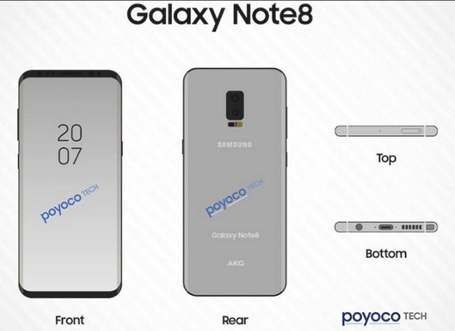 Bản vẽ Galaxy Note 8 mới nhất hé lộ nhiều chi tiết quan trọng ảnh 1