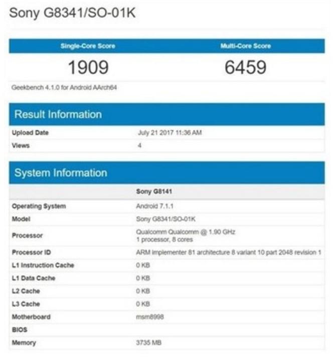 Sony Xperia XZ1 lộ diện với chip Snapdragon 835, RAM 4 GB ảnh 1