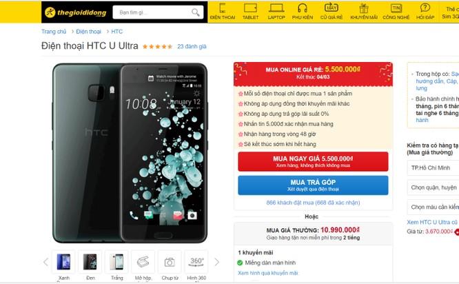 HTC U Ultra đang được bán với giá sốc 5,5 triệu đồng ảnh 1