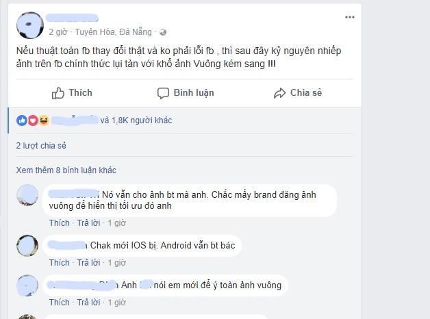Người dùng Việt Nam thất vọng khi ảnh đăng Facebook biến thành hình vuông ảnh 1
