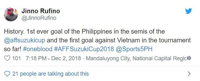 Người hâm mộ bóng đá Philippines lên Twitter ăn mừng dù thua Việt Nam ảnh 2