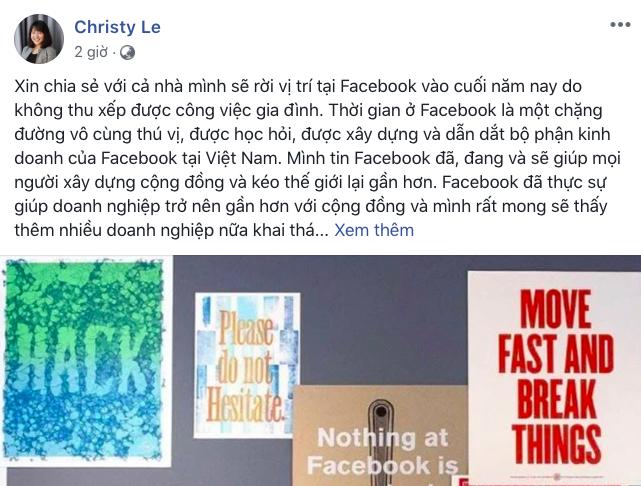Bà Lê Diệp Kiều Trang bất ngờ tuyên bố rời bỏ cương vị Giám đốc Facebook Việt Nam ảnh 1