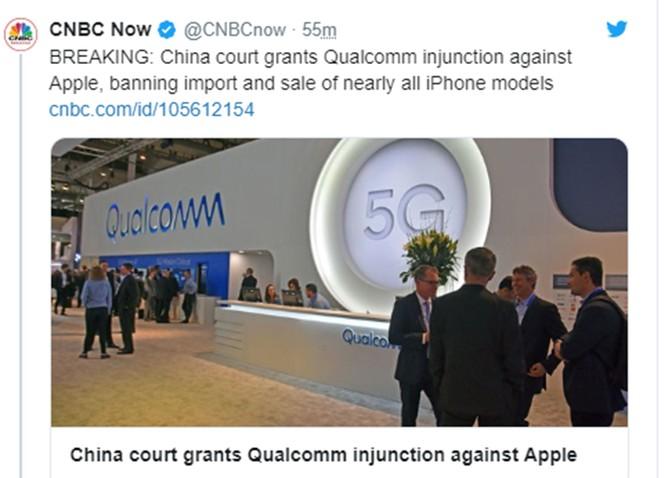 Cổ phiếu Apple sụt giảm sau khi tòa án Trung Quốc ra phán quyết cấm bán iPhone tại quốc gia này ảnh 1