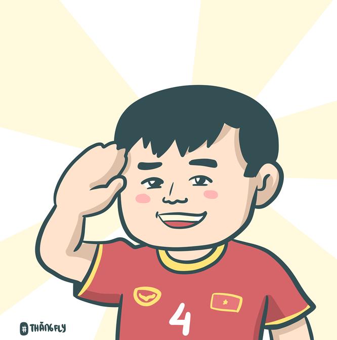 Loạt tranh vui ngộ nghĩnh về các cầu thủ đội tuyển Việt Nam sau chiến thắng trước Jordan ảnh 8