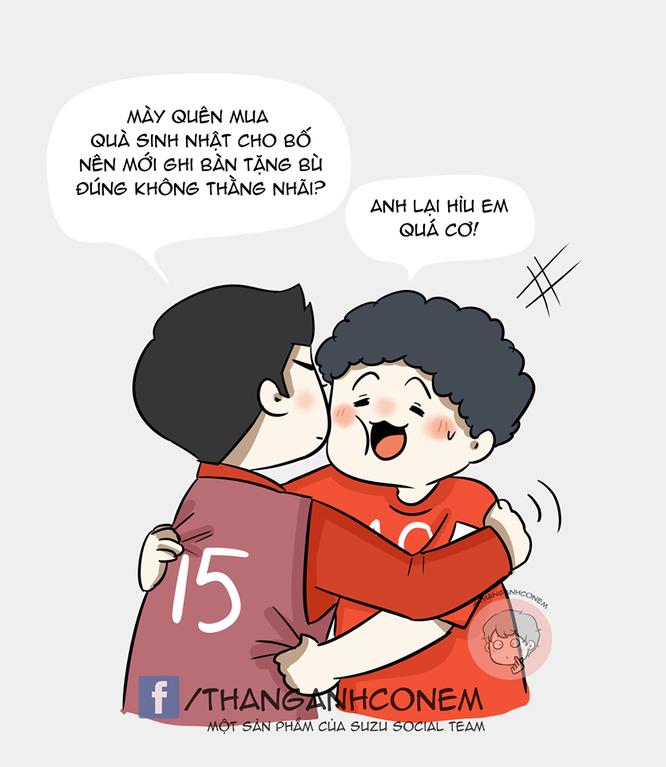 Loạt tranh vui ngộ nghĩnh về các cầu thủ đội tuyển Việt Nam sau chiến thắng trước Jordan ảnh 6