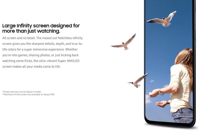 """Samsung xác nhận màn hình vô cực thực sự trên Galaxy A90: không """"tai thỏ"""", không """"nốt ruồi"""", giấu camera cực khéo ảnh 1"""