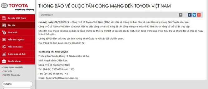 Toyota Việt Nam xác nhận bị hacker tấn công ảnh 1