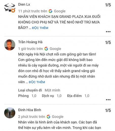 KS Grand Plaza Hà Nội bị người dùng mạng xã hội đồng loạt chấm 1 sao sau sự việc quản lý KS xua đuổi phụ nữ và trẻ em đứng tránh trú dông lốc ảnh 3