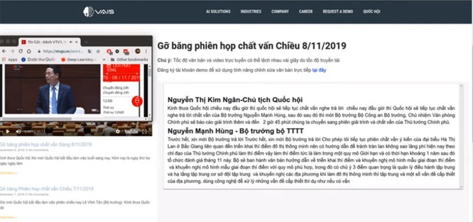 """Phần mềm chuyển giọng nói sang văn bản của VAIS được Quốc hội khóa XIV áp dụng, Chủ tịch QH Nguyễn Thị Kim Ngân và Bộ trưởng Nguyễn Mạnh Hùng khen """"rất tốt"""" ảnh 1"""