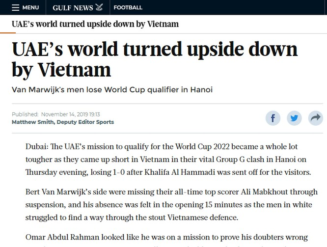Báo chí UAE nói gì về trận thua của đội nhà trước Việt Nam? ảnh 1