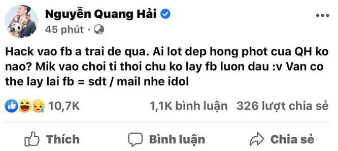 Quang Hải bị hack Facebook, lộ tin nhắn tình cảm riêng tư ảnh 1