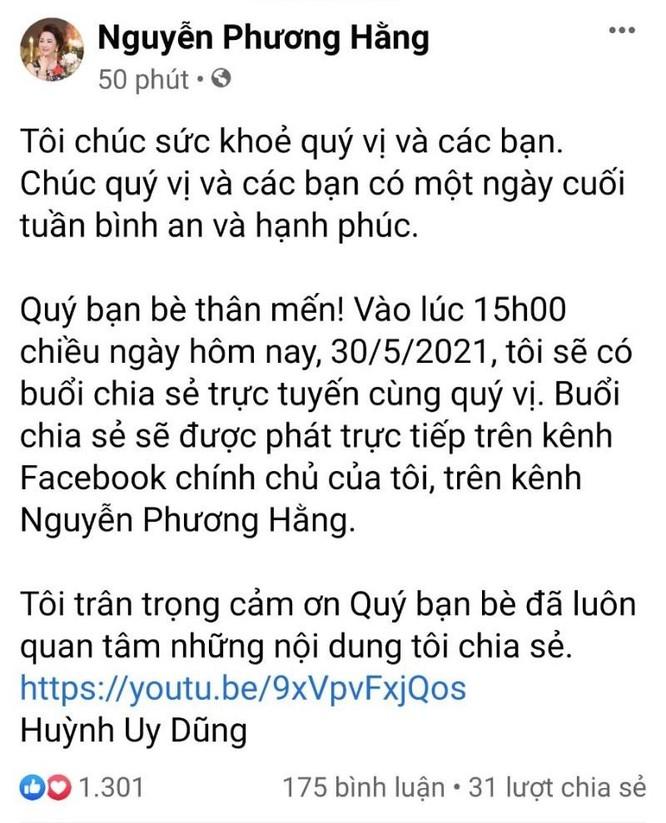 Bà Phương Hằng thông báo tiếp tục livestream vào 15h chiều nay ảnh 1