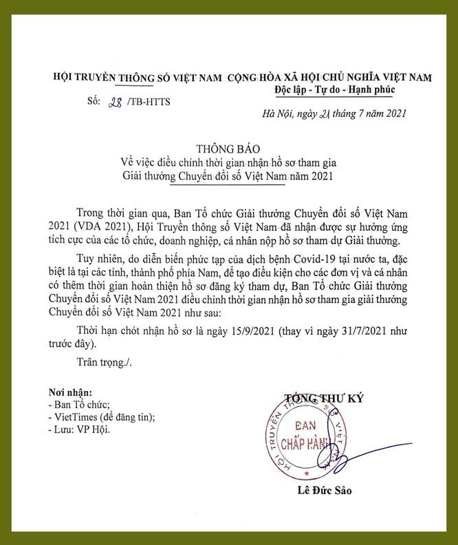 Gia hạn tiếp nhận hồ sơ tham dự Giải thưởng Chuyển đổi số Việt Nam 2021 ảnh 1