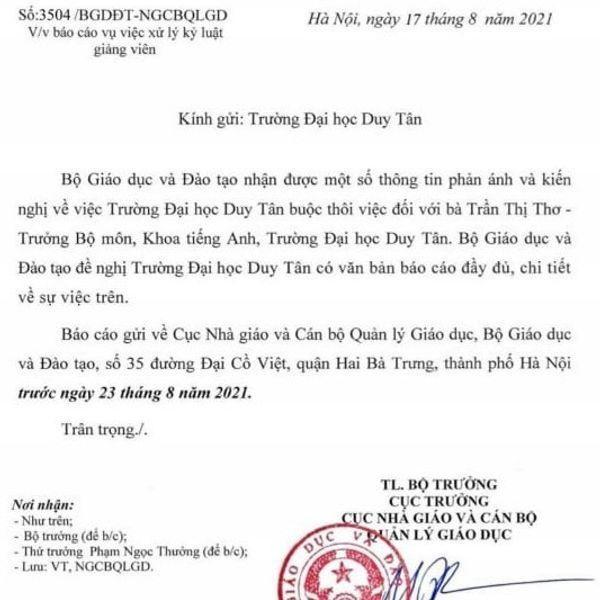 Bộ Giáo dục và Đào tạo có động thái kịp thời trong vụ Đại học Duy Tân buộc thôi việc giảng viên ảnh 1
