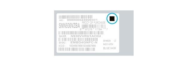 Hình vuông màu đen trên phần nhãn của lô máy Galaxy Note 7 mới và an toàn.