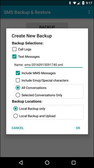 Backup tin nhắn SMS vào email, Dropbox, Google Drive ảnh 3