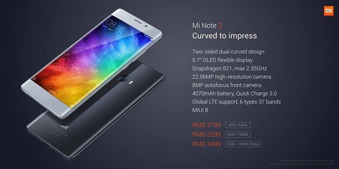 Xiaomi Mi Note 2 chính thức: màn hình cong giống Note 7, camera 22.56 MP ảnh 4