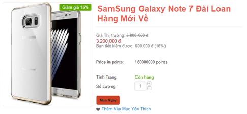 Galaxy Note7 Đài Loan được đăng bán công khai trên mạng- (Ảnh chụp màn hình).