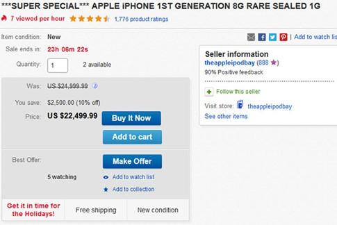 Giá bán chiếc iPhone 2G nguyên seal đang ở mức rất cao- (ẢNH: PHONEARENA).